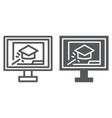 online training line and glyph icon education and vector image vector image