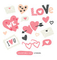 pack of love stickers with hearts vector image vector image