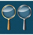 Pair of magnifying glasses on blue background vector image vector image