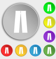 Pants icon sign Symbol on eight flat buttons vector image vector image