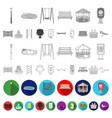 park equipment flat icons in set collection for vector image