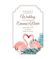 pink flamingos couple wedding invitation frame vector image vector image