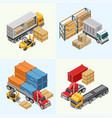 process of loading freight trucks vector image