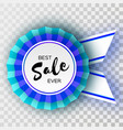 sale blue ribbon banner in paper cut style vector image vector image