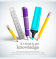 school stationery composition vector image vector image