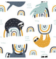 seamless childish pattern with funny sloths on vector image vector image
