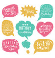 set comic speech bubbles with happy vector image