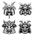 set samurai masks and helmets design element vector image vector image