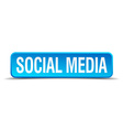 Social media blue 3d realistic square isolated vector image vector image