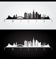tbilisi skyline and landmarks silhouette vector image vector image
