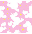 white unicorn pattern on pink vector image vector image