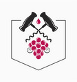 wine grape with wine corkscrew logo on white vector image vector image
