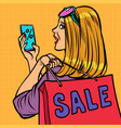 woman buyer online shopping sale vector image