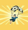 woman golden parachute financial compensation vector image