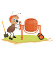 working ant and concrete mixer vector image vector image