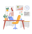workplace in office or at home flat interior vector image