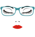 beautiful close eye with glasses vector image