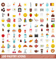 100 pastry icons set flat style