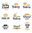Bakery dessert shop or bakehouse logo set