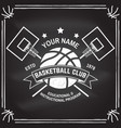basketball club badge on the chalkboard vector image vector image