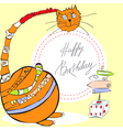 birthday card with happy cat vector image vector image