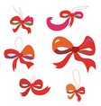 Bows set in red colors funny vector image vector image