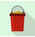 Bucket full of garbage icon flat style vector image