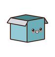 cardboard box open cute kawaii cartoon vector image