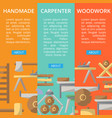 carpenter woodwork posters in flat style vector image vector image
