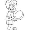 Cartoon boy holding a beach ball vector image