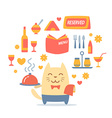 Character waiter uniform and bow tie colorful flat vector image