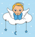 child angel card on top of the cloud vector image