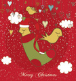 Christmas Card With Sweet Birds vector image