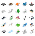 city life icons set isometric style vector image
