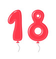 color balloons with numbers eighteen decoration vector image vector image