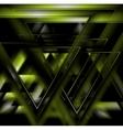 Dark green tech futuristic triangles background vector image vector image