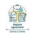 deposit agreement concept icon savings idea thin vector image vector image