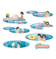 family vacations in pool travel ilustration vector image