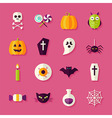 Flat Halloween Trick or Treat Objects Set with vector image vector image