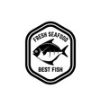 fresh seafood label template with fish design vector image vector image