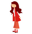 girl dressed in red on a white background vector image vector image