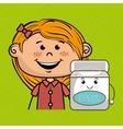 happy cartoon girl holding smiling cartoon vector image