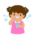 happy girl brushing teeth cartoon vector image vector image