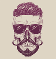 hipster skull with sunglasses hair vector image