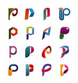 icons in shape p letter for abc alphabet sign vector image