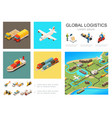 isometric global logistics infographic concept vector image