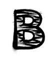 letter b graffiti alphabet with spray lines and vector image