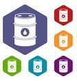 Metal oil barrel icons set vector image vector image
