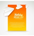 Paper airplane postcard vector image
