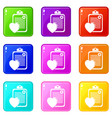 patient card icons set 9 color collection vector image vector image